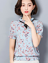 Women's Going out Simple Cute Blouse,Floral Round Neck Short Sleeves Cotton Acrylic