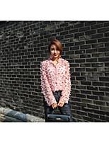 Women's Daily Fall Shirt,Solid Shirt Collar Long Sleeves Rayon Medium
