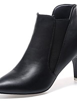 Femme Chaussures Polyuréthane Automne Confort Bottes à la Mode Bottes Talon Aiguille Bout pointu Bottes Mi-mollet Elastique Pour