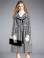 8CFAMILY Women's Party Street chic Sophisticated Skater Dress,Striped Shirt Collar Above Knee 3/4 Length Sleeves Rayon Polyester Nylon Winter Mid