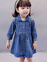 Girl's Solid Dress Fall Check Blue