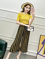 Women's Casual/Daily Simple Summer T-shirt Pant Suits,Solid Striped Round Neck Short Sleeve Micro-elastic