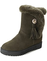 Women's Shoes PU Winter Snow Boots Boots Flat Heel Round Toe For Casual Army Green Gray Black