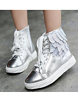 Girls' Shoes Real Leather Fall Winter Comfort Boots For Casual Silver Black