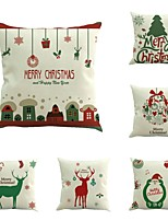 Set Of 6 Merry Christmas Design Pillow Cover Creative Cotton/Linen 45*45Cm