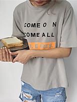 Tee-shirt Femme,Couleur Pleine Lettre Sortie simple Manches Courtes Col Arrondi Coton