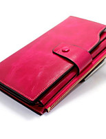 Women Bags All Seasons Cowhide Wallet Zipper for Event/Party Formal Black Fuchsia Coffee