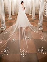 Une couche Voiles de Mariée Voiles cathédrale Avec Applique Perle Dentelle Tulle