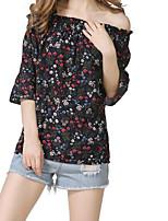 T-shirt Da donna Per uscire Casual Moda città Estate,Fantasia floreale A barca Cotone Mezza manica Medio spessore