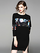 Women's Daily Going out Street chic Sheath Dress,Floral Round Neck Knee-length 3/4 Length Sleeves Cotton Polyester Fall Mid Rise Inelastic