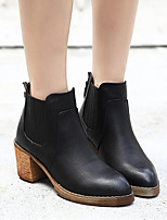Women's Shoes Nappa Leather Cowhide Fall Winter Fashion Boots Combat Boots Boots Chunky Heel Booties/Ankle Boots For Casual Black Brown