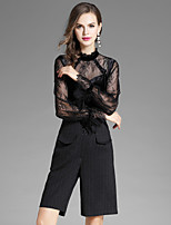 Women's Daily Going out Street chic Fall Blouse Pant Suits,Solid Stand Long Sleeve Cut Out Polyester Inelastic