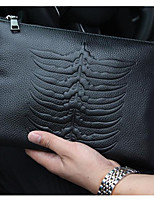 Men Bags All Seasons Cowhide Clutch Zipper for Casual Black