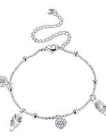 Femme Bracelet de cheville/Bracelet Plaqué argent Alliage Mode Classique Forme de Cercle Forme Géométrique Bijoux Pour Soirée Quotidien
