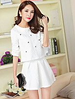 Women's Daily Casual Winter Fall Blouse Skirt Suits,Geometric Round Neck Long Sleeve Stretch Yarn