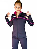 Figure Skating Fleece Jacket Women's Girls' Ice Skating Dress Purple Sky Blue Red Stretchy Performance Practise Stretchy Long Sleeves