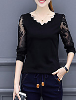 Women's Daily Going out Vintage Street chic Winter Fall T-shirt,Solid V Neck Long Sleeves Polyester Medium