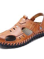 Для мужчин обувь Полиуретан Весна Осень Удобная обувь Сандалии Назначение Повседневные Черный Коричневый