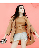Women's Daily Leisure Fall Trench Coat,Solid Hooded Long Sleeve Long Cotton Polyester