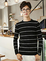 Men's Casual/Daily Regular Cardigan,Striped Round Neck Long Sleeves Cotton Fall Winter Medium Micro-elastic