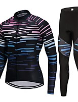 Cycling Jersey with Tights Unisex Long Sleeves Bike Clothing Suits Fast Dry Stripe Winter Cycling/Bike Black