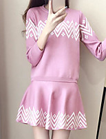Women's Going out Simple Fall Hoodie Skirt Suits,Striped Round Neck ¾ Sleeve