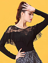 Latin Dance Tops Women's Performance Ice Silk Lace Tassel(s) Long Sleeve Tops
