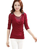 Women's Daily Plus Size Casual Winter Fall T-shirt,Solid Round Neck Long Sleeves Rayon Polyester Thin