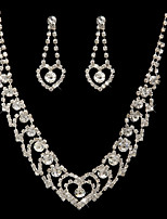 Women's Drop Earrings Necklace Rhinestone Wedding Party Alloy Geometric Necklace Earrings