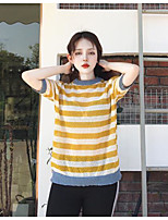 Men's Casual/Daily Regular Pullover,Striped Color Block Crew Neck Half Sleeves Others Spring Winter Medium Micro-elastic