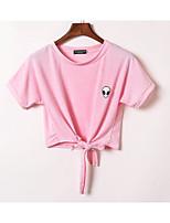 T-shirt Da donna Per uscire Casual Romantico Estate,Tinta unita Rotonda Cotone Manica corta Medio spessore