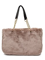 Women Bags Fur Shoulder Bag Zipper for Casual Outdoor All Seasons Black Dark Gray Fuchsia Wine Khaki