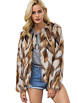 Women's Casual/Daily Work Simple Fall Winter Fur Coat,Color Block Round Neck Long Sleeve Regular Raccoon Fur