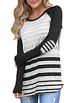 Women's Daily Going out Casual Street chic Spring Fall T-shirt,Striped Round Neck Long Sleeves Polyester Medium