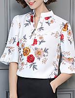 Women's Casual/Daily Sexy Summer Blouse,Floral V Neck Half Sleeves Polyester Medium