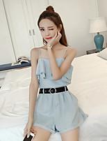 Damen Solide Einfach Lässig/Alltäglich Muskelshirt Hose Anzüge,Trägerlos Sommer Ärmellos