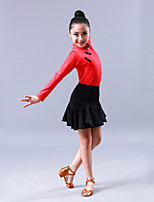 Latin Dance Outfits Children's Performance Rayon 2 Pieces Long Sleeve Skirts Leotard