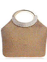 Donna Sacchetti Per tutte le stagioni Poliestere Tote Bottoni Dettagli con cristalli per Casual Oro Argento