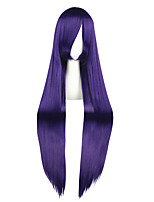 Women Synthetic Wig Capless Very Long Kinky Straight Purple Anime Cosplay Wig Costume Wig