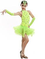 Shall We Latin Dance Dresses Children's Performance Spandex Sleeveless High Dresses