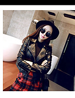 Women's Going out Simple Fall Leather Jacket,Solid Stand Long Sleeve Short Calfskin