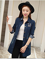 Women's Going out Simple Fall Denim Jacket,Solid Stand Long Sleeve Long Cotton