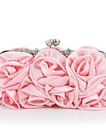 Women Bags All Seasons Silk Evening Bag Appliques for Wedding Event/Party Silver Blushing Pink