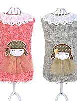 Chien Gilet Vêtements pour Chien Décontracté / Quotidien Dessin-Animé Gris Rose Costume Pour les animaux domestiques