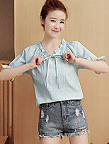 Women's Going out Casual Shirt,Solid Round Neck 3/4 Length Sleeves Cotton