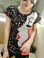 Women's Daily Casual T-shirt,Solid Polka Dot Print Round Neck Short Sleeves Cotton