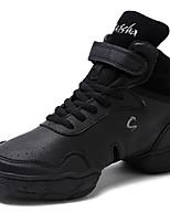 Men's Dance Sneakers Real Leather Split Sole Daily Customized Heel Black Customizable