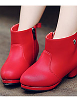 Girls' Shoes PU Fall Winter Fashion Boots Boots Booties/Ankle Boots For Casual Red Black White