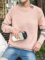 Standard Pullover Da uomo-Casual Semplice Tinta unita Rotonda Manica lunga Poliestere Inverno Medio spessore Media elasticità