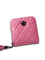 Women Bags All Seasons Cowhide Wallet Zipper for Shopping Casual Black Red Blushing Pink Gray Fuchsia